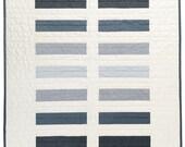 Modern Baby Quilt -  Cool Grey Bricks