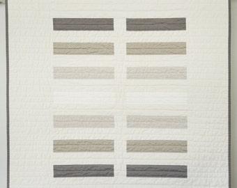 Modern Baby Quilt -  Earth Tone Bricks