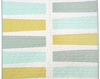 New Modern Quilt - Baby/Pet Quilt - Keyboard (Blue+Green)