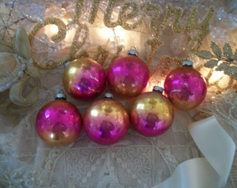 6 vintage glass ornaments, hot pink and gold ombre, shiny brite vintage pink christmas, shabby patina of age