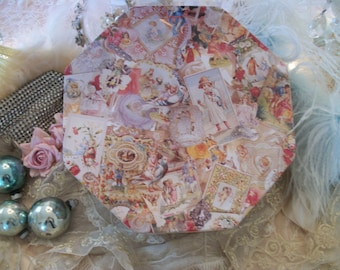 """large 9.5"""" decorative tin victorian style print, soft romantic colors, good condition, octagon shape, victorian images collage pattern"""
