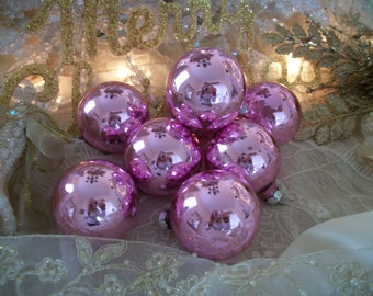 8 vintage soft pink glass ornaments, usa made, pretty raspberry-pink color, vintage pink christmas, holiday décor, old decorations
