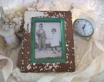 pony print wood picture frame 5x7, brown & white pinto print, jadite trim, rustic western farmhouse, southwest, cowboy cowgirl NWT