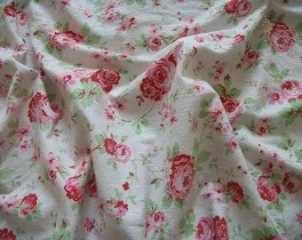 vintage 'rosalie' K sham, flanged edge, white background, 100% cotton, single sham, fabric supply, pink roses