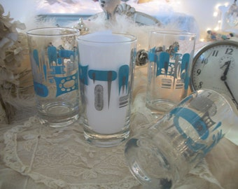 4 'blue heaven' drinking glasses, MCM abstract pattern, great condition! barware, table use, 8 oz, anchor hocking glass, aqua and grey gray