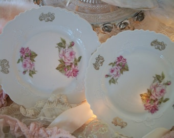 pair of antique salad plates, lush antique pale-pink roses,  display or use at table, shabby antique roses, unmarked, pre-1920