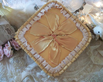 rich gold pleated satin square fancy chocolate candy box, special occasion box, romantic vintage décor, no bar code, keepsake or gift box