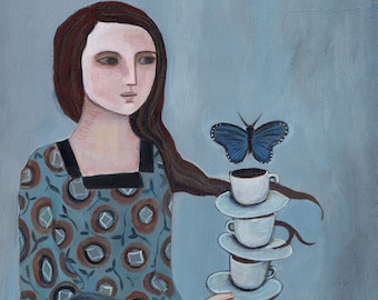 A Delicate Balance, Greeting Card, butterfly, woman's art, fine art, wholesale availability