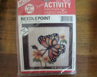 McNeill Crewel Needlepoint KIT Monarch in Flight EASY