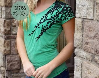 t Shirt Frauen, soft-t-Shirt, Graphic Tee, Bildschirm print-Shirt, grün und schwarz, plus Größe Grafik Tees, Vneck Tshirt, V-Neck-t-shirt
