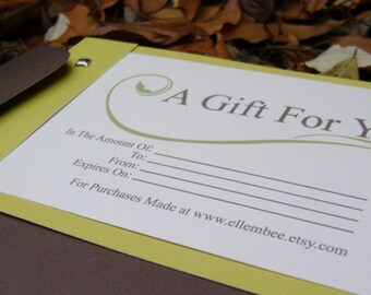 50 Dollar Gift Certificate for ellembee