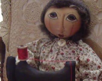 PRIMITIVE doll pattern, sewing machine