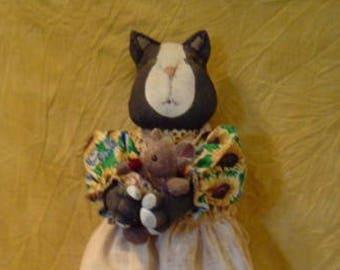Primitive doll, doll epattern, prim cat, bag holder doll, Tuxedo Cat, Bag holder, Sunflower, Doll Primitive epattern, sewing, kitchen