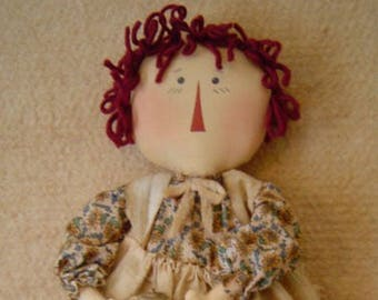 Raggedy ann doll pattern, sewing pattern, epattern, cloth raggedy doll, prim raggedy, sunflower, digital pattern, folk art, prim, primitive