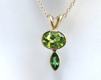 14k Gold Peridot and Tsavorite Necklace - Ready To Ship