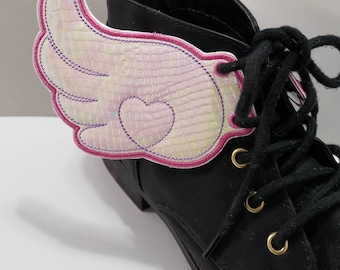 d4903a24da9f66 Kawaii angel shoe wings holographic pair