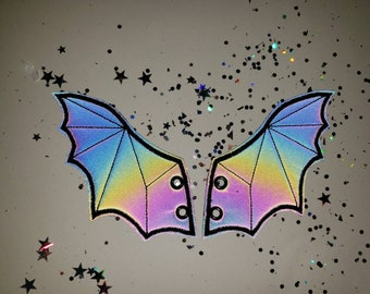 Bat shoe wings for shoes, boots and skates, black refective rainbow safety fabric with black stitching rts rainbow pattern will vary