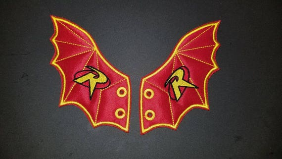 Bat Shoe Wings With Robin Symbol In Red Etsy