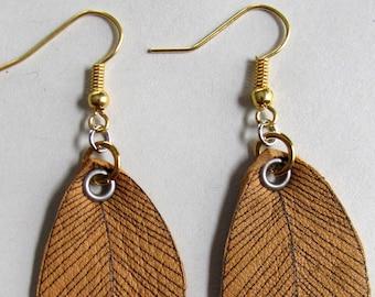 Leather Leaf Earrings
