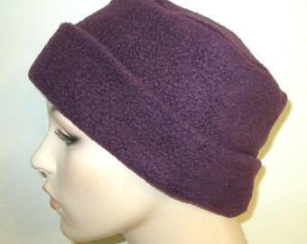 8f3ff0c7e5249 Rich Plum Color Anti Pill Fleece Pillbox Hat