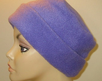 Purple  Anti Pill Fleece Pillbox Hat, Winter Hat, Cancer, Chemo Hat, Warm Hat