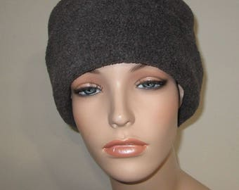 Charcoal GrayAnti Pill Fleece Pillbox Hat, Winter Hat, Cancer, Chemo Hat, Warm Hat