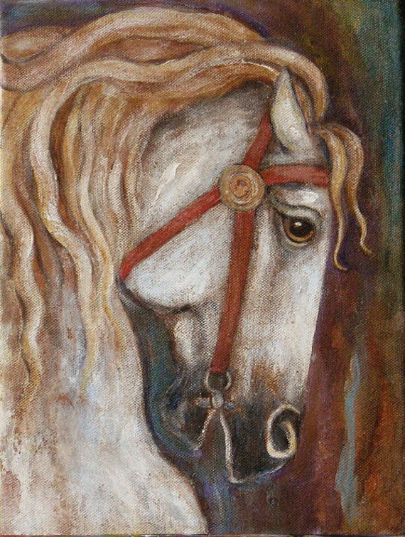 Horse Painting Medieval Carousel Fairytale Etsy