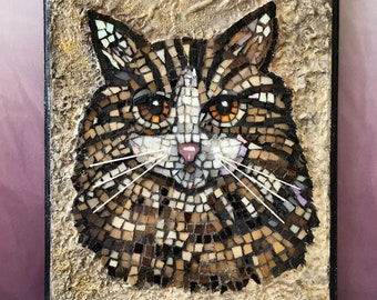 Tabby  Cat Mosaic , Stained Glass on Wood,  Iridescent Glass, Glass Whiskers, Orange Cats Eyes,