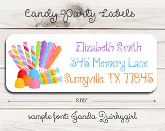 Candy Party Return Address Labels
