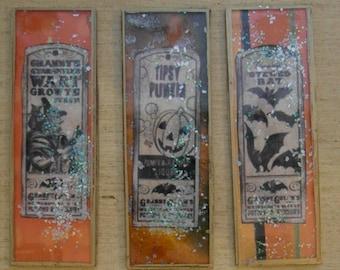 Mixed Media Halloween Glass Microscope Slides set/6 Steampunk Prim Vintage junk journal