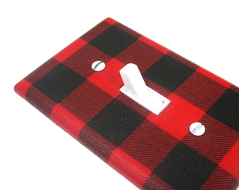 Rustic Home Decor Red and Black Buffalo Plaid Check Light Switch Cover Plate Unique Lighting Housewarming Gift Modern Holiday Decor