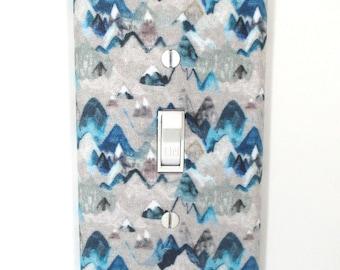 Blue Snow Mountains Light Switch Cover Plate Boho Adventure Nursery Decor Boy Bedroom