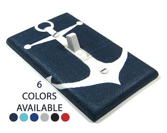 Navy Blue Anchor Light Switch Cover Plate Nautical Nursery Decor Housewarming Gift for Home Beach House