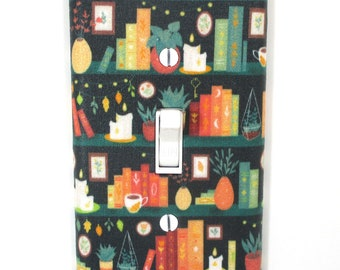 Plants and Books on Shelf Light Switch Cover Plate Gift for Book Lover Library Office Home Decor