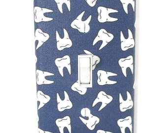 Navy Blue Teeth Light Switch Cover Plate Dental Office Decor Gift for Dentist Tooth Fairy
