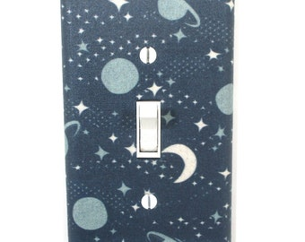 Blue Moon Stars and Planets Light Switch Cover Plate Outer Space Nursery Decor
