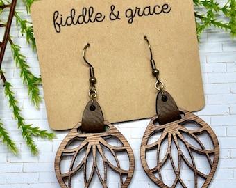 Pair of Narra Wood Hanger Tribal Heart Earrings Sizes 8G to 2G