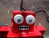 red paper mache robot bank SALE