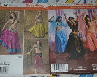 2 Simplicity Belly Dancer Costume Sewing Patterns 2941 and 2158