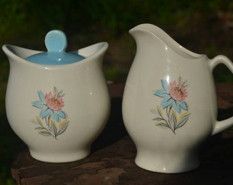 Vintage Mid Century Steubenville Fairlane Dessert Rose Sugar Bowl with Lid and Creamer Set