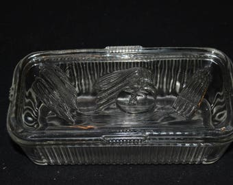 Vintage Federal Glass Clear Vegetable Refrigerator Dish