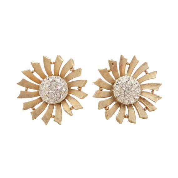 1980s Vintage inspired cream enamel rhinestone star flower power floral cluster large boho bohemian retro statement chunky clip on earrings