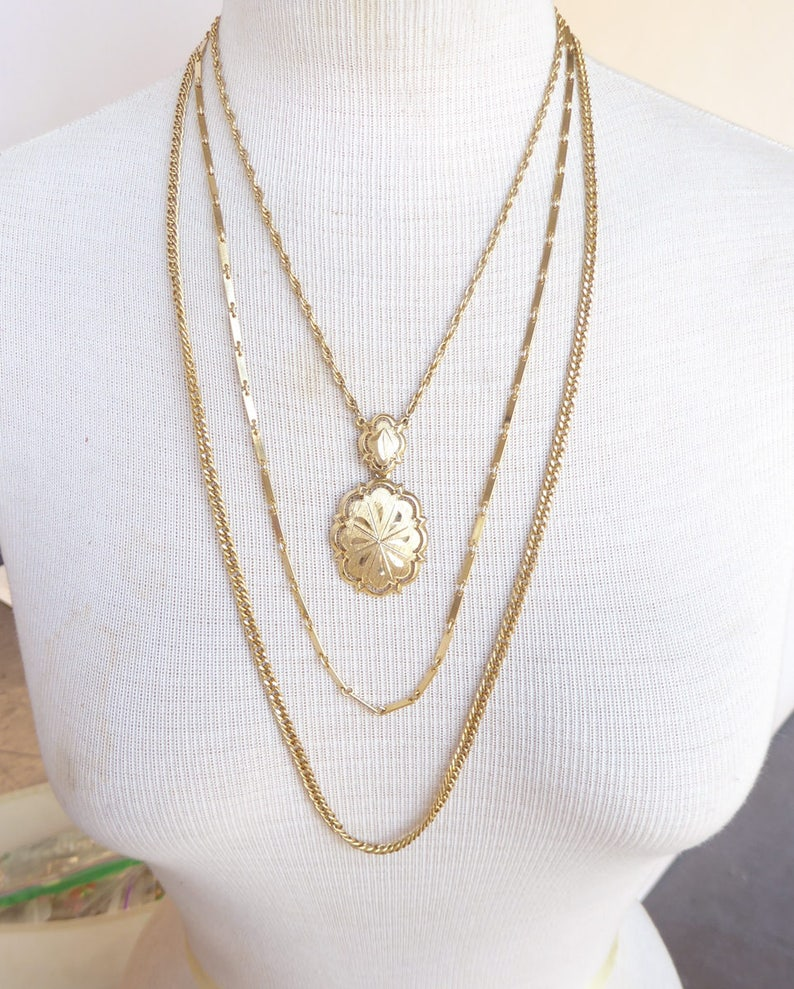 1960s Gold layered triple chain etched abstract floral pendant long bohemian boho festival feminine retro statement necklace
