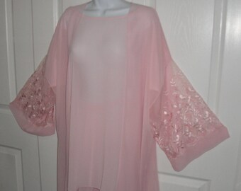 Vintage 3 piece Jonquil by Diane Samandi sheer pastel pink Pajama set for  Neiman Marcus 0a40003a5