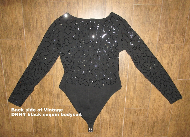 Donna Karan New York DKNY black w black sequins Cotton and Spandex mi Made in Hong Kong Small Long sleeves ShoptoSave Vintage Bodysuit