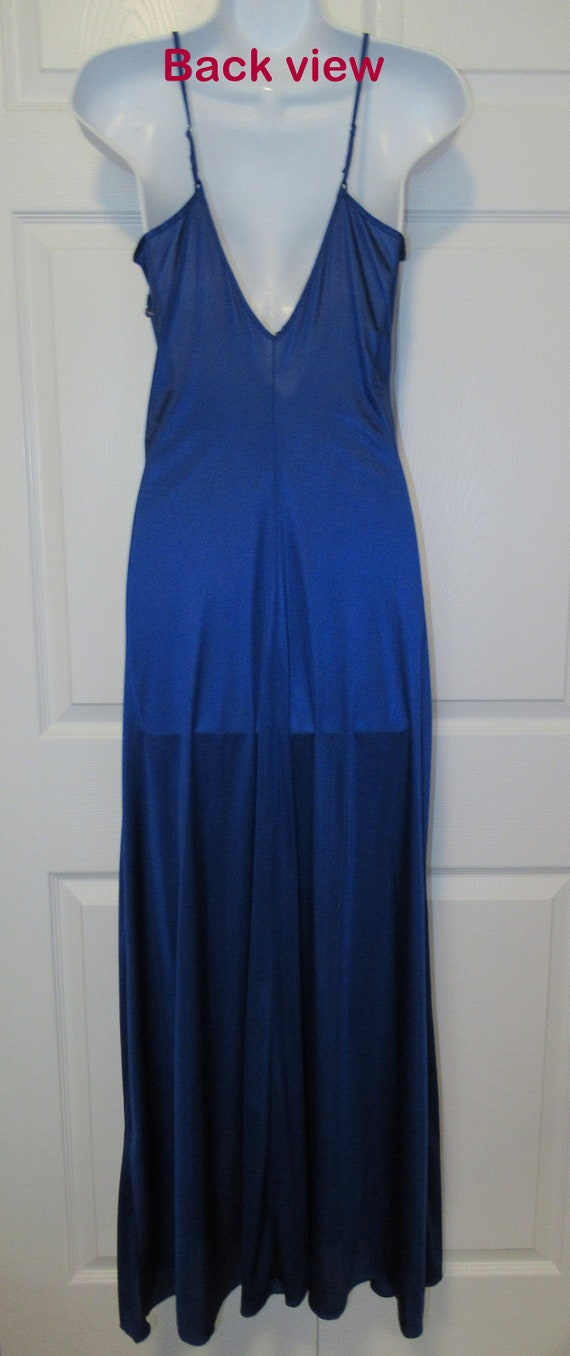 Low cut lace Vintage Colesce Couture cobalt blue nightgown Made in USA Lace front /& side trim Sz Medium Full length front flap opening