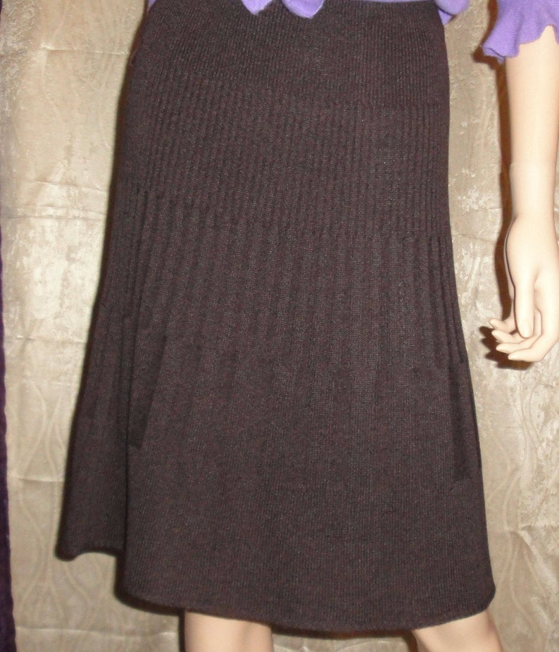 Versatile Lovely Basic Skirt Made in USA ShoptoSave Vintage San Remo Knit Chocolate Brown Flared Skirt 1980s Acrylic and Nylon Sz Small