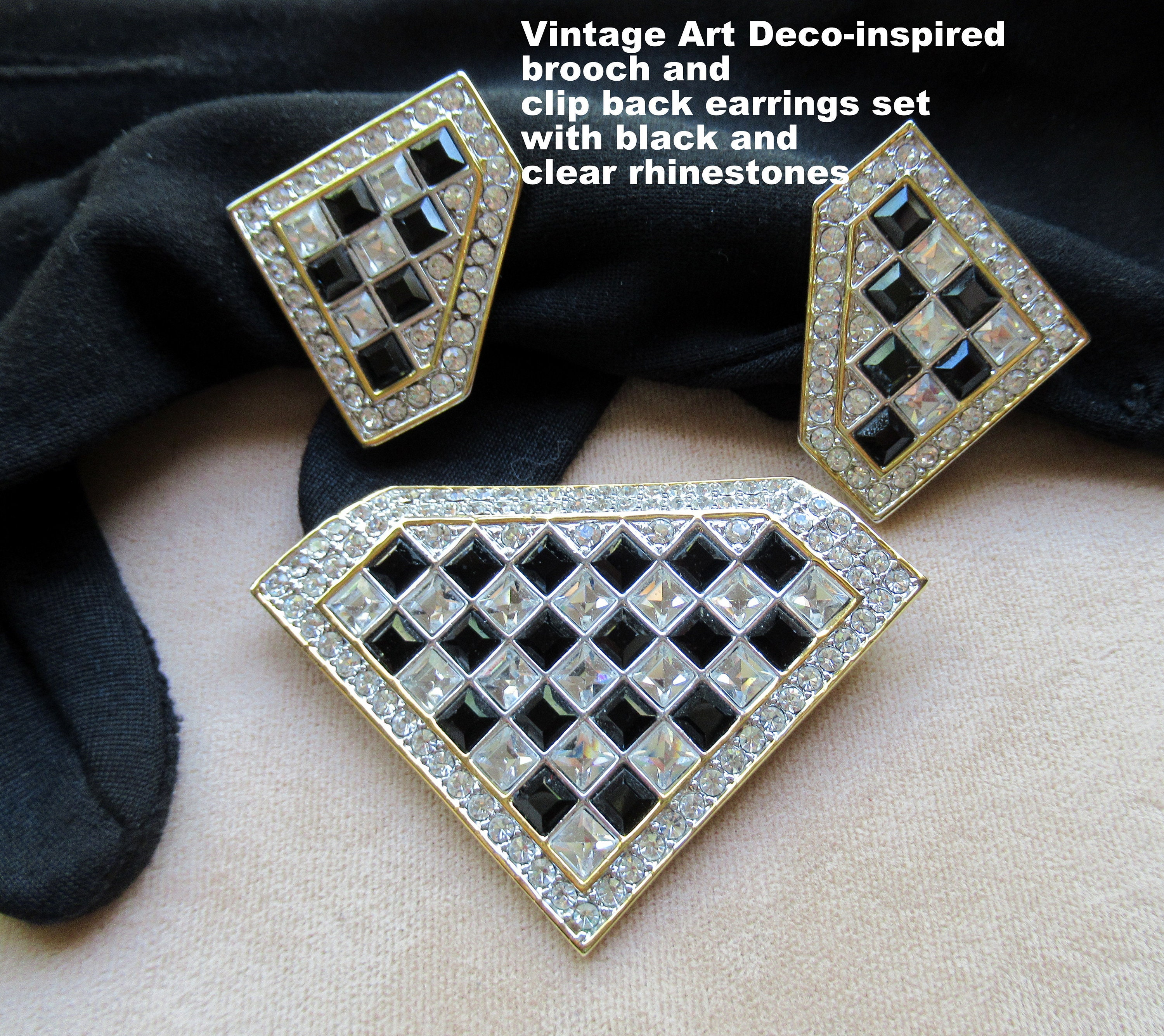 Vintage Art Deco Inspired Brooch And Clip Back Earrings Set Etsy