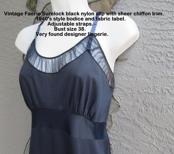 Vintage Faerie SureLock black nylon slip, Sheer ch