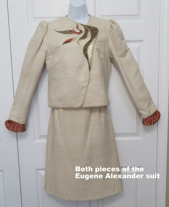 Vintage Eugene Alexander skirt & blazer raw silk c